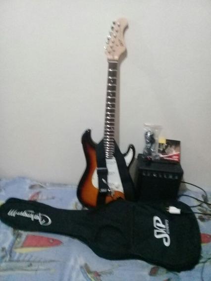 Guitarra Charlenger Iii, Com Capa, Jogo Cordas Nova E Mais