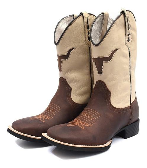 Bota Country Texana Masculina Couro Legítimo