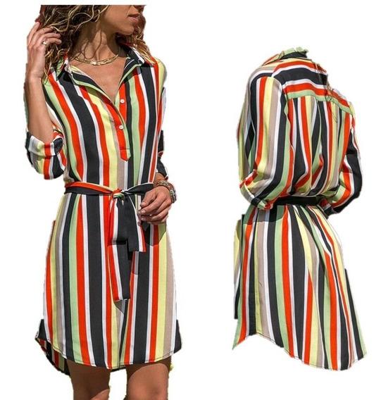 Vestido Dama Casual Camisa Estampa Colores