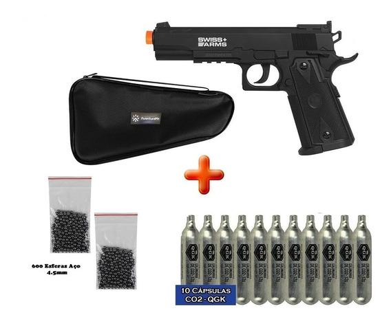 Pistola Pressão 1911 Match Co2 Swiss Arms 4.5mm + Acessórios
