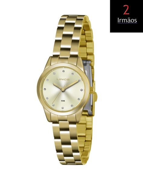 Relógio Dourado Lince Feminino Pequeno Lrg4436l