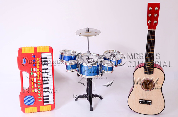 Kit Mini Bateria 5 Tambores Happy + Teclado + Violão