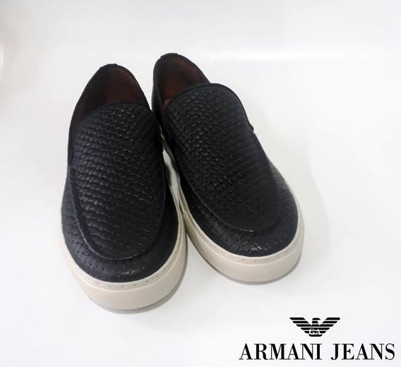 Tênis Sapatênis Slip On Loafer Armani Jeans Frete Grátis