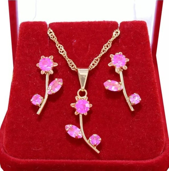 Conjunto Brinco E Colar Flor Acrílica Rosa Folheado A Ouro