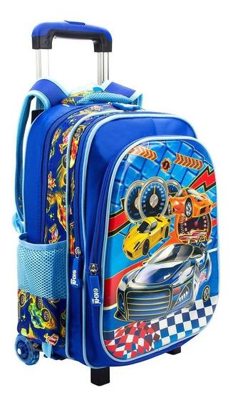 Mochila Infantil Rodinha Menino Mochila Carros Azul