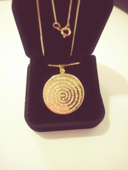 Corrente Com Medalha Oração Pai Nosso M Banhado A Ouro 18k