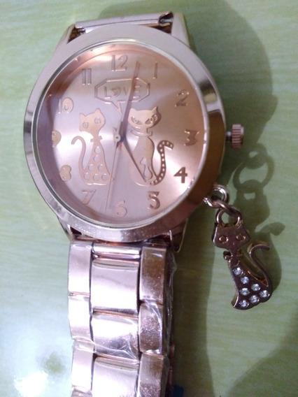 Relógio Feminino Rosé / Rosa Gatinho / Gato Barato / Mulher