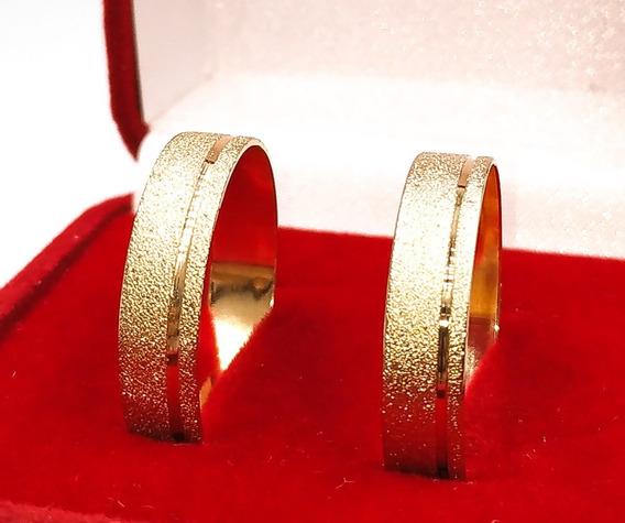 Lindo Par Aliança Casamento Banhada Ouro 18k Diamantada