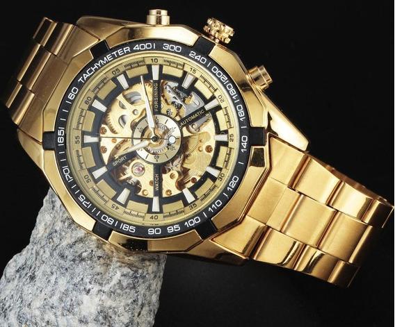 Relógio De Pulso Luxo Forsining / Winner Tm340 C/ Caixa