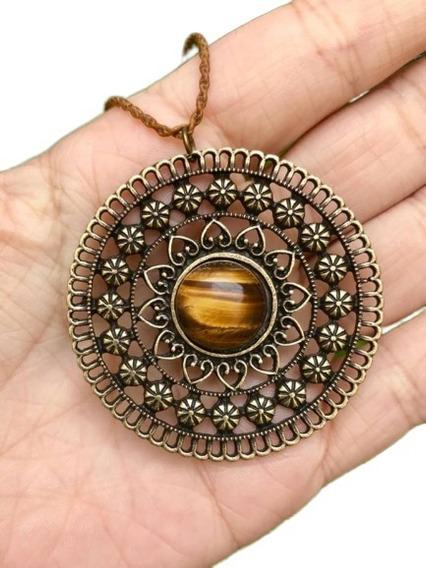 Colar Mandala Bronze Com Pedra Olho De Tigre