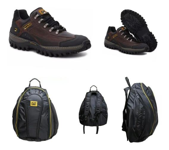 Tênis Lançamento Caterpillar Couro +mochila Ipermeavel