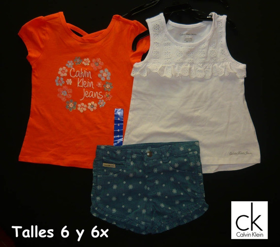 Trios Verano Importados Calvin Klein Niños Niñas Short Remera Musculosa Chomba