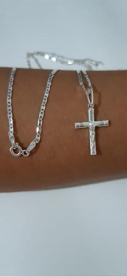Corrente Masculina Prata 925 +crucifixo 70cm Fina Barato