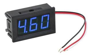 Voltimetro Digital Display Led Azul 3-30 V 2 Cable 12v Full