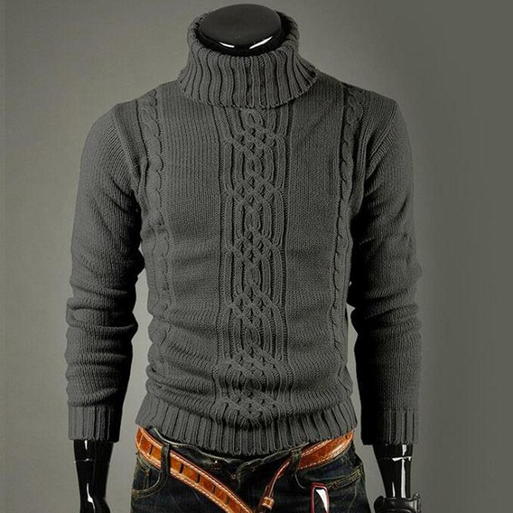 Suéter Hombres Casual Manga Larga Color Sólido Cuello Alto