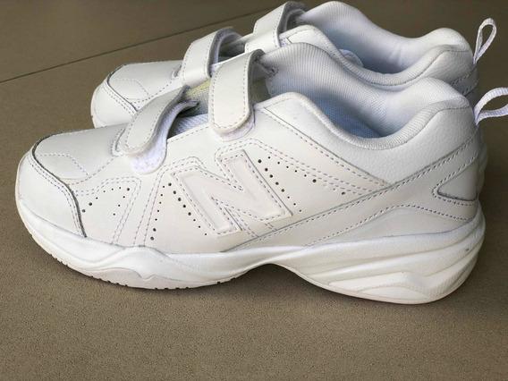 New Balance Cuero Blancas Para Colegio Con Velcro