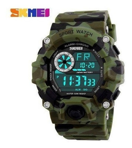 Relógio Masculino Militar Skmei 1019 Camuflado Shock Digital