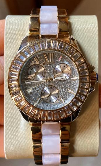 Relógio Invicta Feminino 29105 Banhado Ouro 18k Original