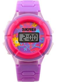 Relógio Skmei Infantil Lilás Digital Barato Flores Nota 3612
