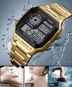 Relógio Masculino Skmei Dourado Digital Prova Dágua 1335