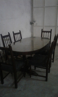 Juego De Comedor Antiguo Macizo Oval Con Vidrio Y 6 Sillas