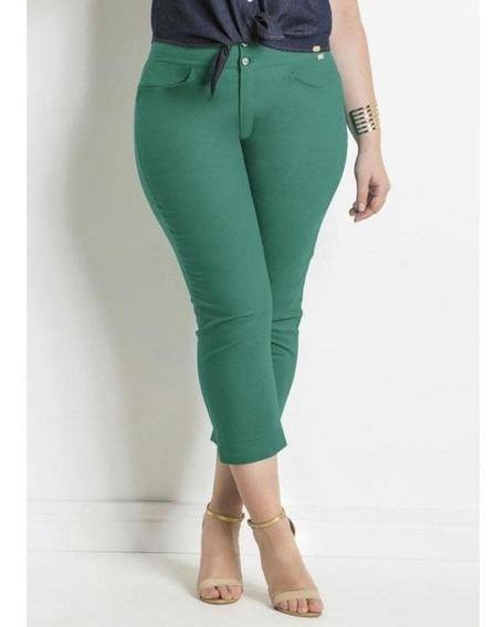 Calça Cropped Verde Sarja Plus Size Quintess