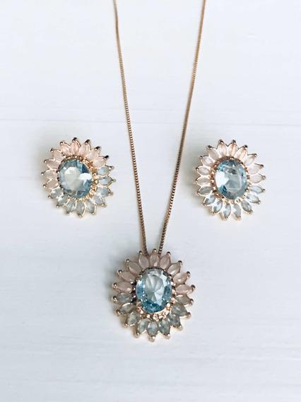 Colar E Brinco Pedra Cristal Azul E Rosa Banhado Ouro 18k