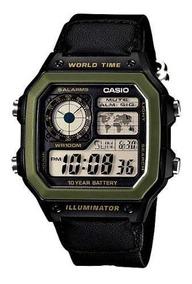 Relogio Casio Ae 1200whb-1 Nylon Quadrad Crono 5alarm