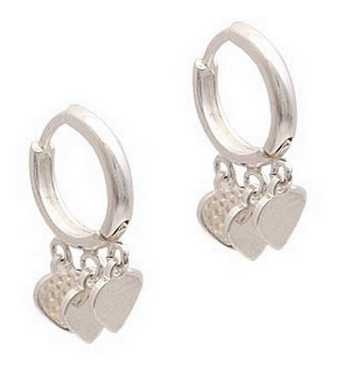 Brinco Argola Pequena 3 Corações Prata Pura Garantia Feminin