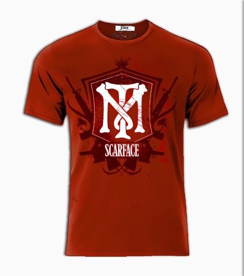 Playera O Camiseta Tony Montana Scarface Cara Cortada Antonio Montana Logo Armas