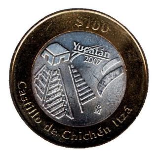 Moneda $100 Pesos Yucatan Castillo De Chichen Itza 2.ª P88