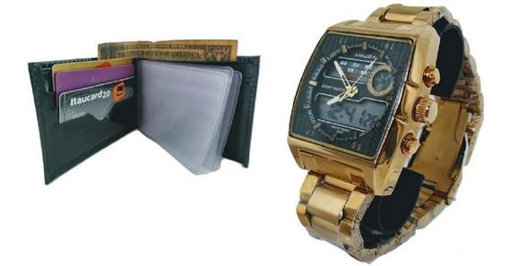 Relógio Masculino Amuda5014 Original Dourado Multi Funções