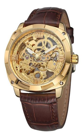 Reloj Forsining Hombre Automatico Correa Piel Skeleton