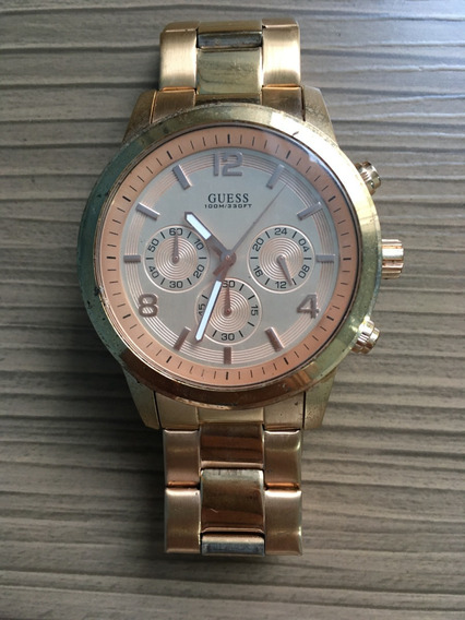 Relógio Guess Dourado Rosé Pulseira De Aço