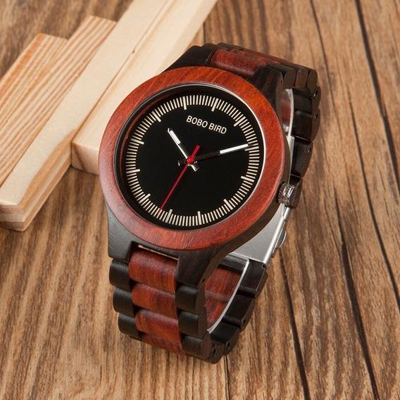Relógio De Madeira Natural Ecológico Bobo Bird + Caixa Bambu