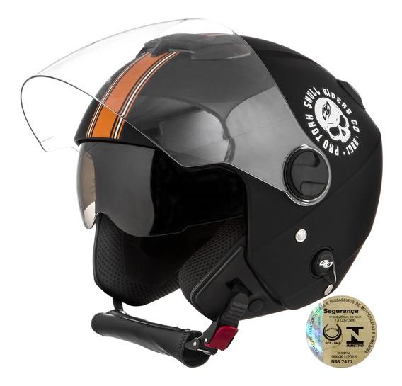 Capacete Aberto Moto Masculino Pro Tork Viseira Dupla Preto