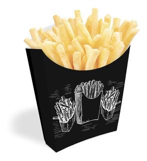 Embalagem Para Batata Frita E Salgadinhos Preto 500un