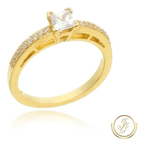 Anel Solitário Noivado Ouro 18 Kl Cravejado ( M 04 )