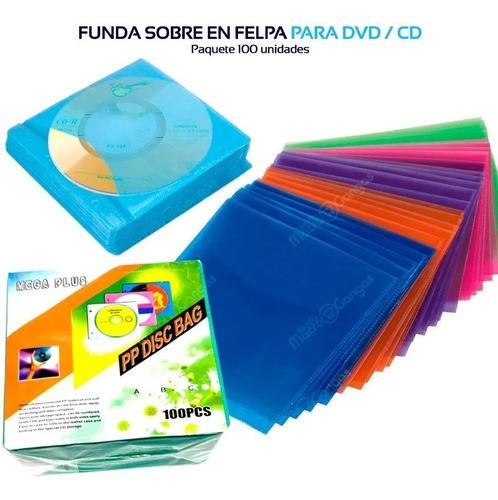 Funda Sobre En Felpa Para Cd / Dvd Paquete 100 U.