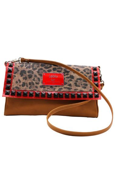 Cartera Bolso Sobre Cuero Mujer Leopardo Leblu C718