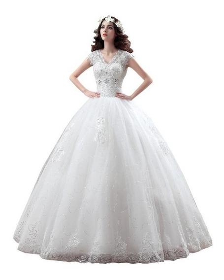 Nb05 Vestido De Noiva Barato Renda V Bordado Princesa Promo