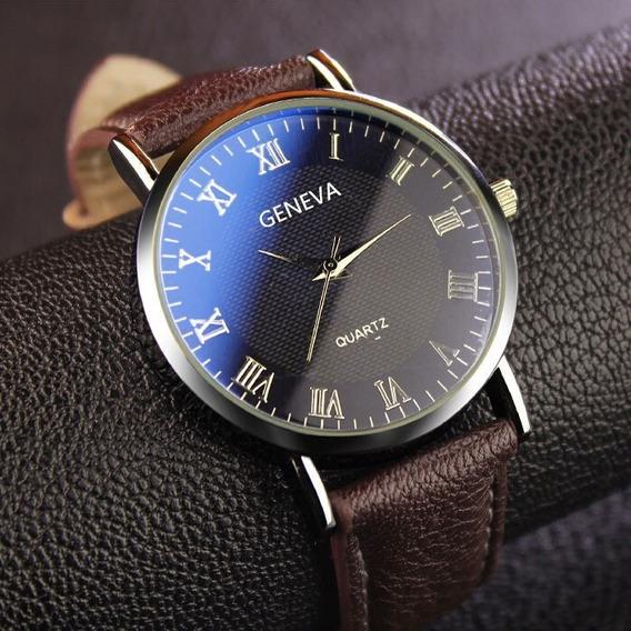 Relógio Geneva Azul-marinho Pulseira De Couro Marrom Unissex