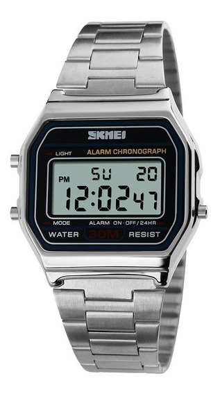 Relógio Retro Vintage Feminino Masculino Skmei 1123 Prata
