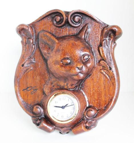 Relógio Gato, De Madeira, Para Mesa, Decoração, Rústico