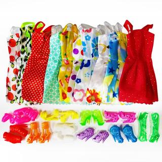 Paquete De 10 Vestidos Y 10 Pares De Zapatos Para Barbie
