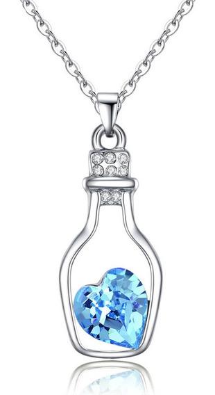Acessório Feminino Cordão Com Pingente Coração Cristal Azul