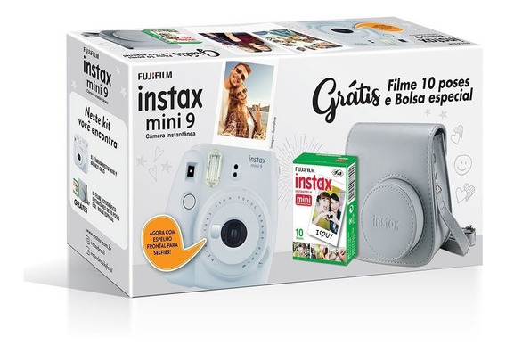 Kit Câmera Instax Mini 9 Branco Gelo Bolsa 10 Filmes Nf