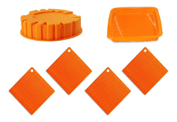 Kit 4 Descanso Panela E 2 Formas Silicone