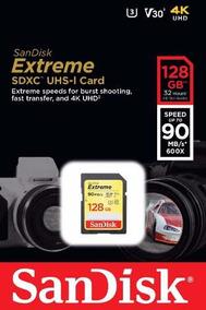 Cartao Sd Xc Sandisk Extreme 128gb 90mb/s Uhs-3 C10 V30 4k
