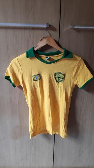 Camisa Baby Look Torcida Do Brasil M Detalhes Em Lantejoula